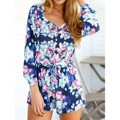 Blue Floral V-neck Long Sleeve Tie Waist Romper Playsuit ($19) ❤ liked on Polyvore featuring jumpsuits, rompers, long sleeve floral romper, blue floral romper, long romper, floral print romper and blue rompers
