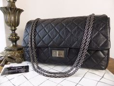 f6856c2bc5394e Chanel 2.55 Reissue 227 Jumbo Flap in Distressed Black Calfskin - New* -  SOLD
