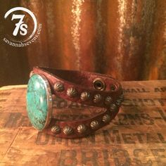 Canton Cuff – turquoise stone leather split cuff from Savannah Sevens Western Chic