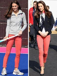 Kate Middleton in coral-colored pants. Heard on GMA this is one of the must haves for spring fashion.