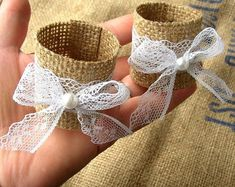 Items similar to Burlap Lace Napkin Holder - Wedding Napkin Rings - Rustic Wedding Decor - Fall Wedding - Rustic Napkin Holder - Woodland Wedding Rings on Etsy Rustic Napkin Holders, Rustic Napkin Rings, Rustic Napkins, Diy Wedding Napkin Rings, Rustic Table, Serviettes Roses, Fall Wedding Decorations, Wedding Themes, Wedding Centerpieces
