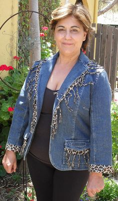 REfashioned denim jacket using a sarong.