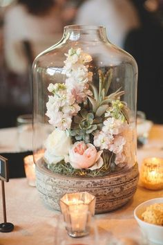 Centre de table champêtre, romantique, pastel et élégant