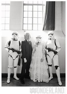 Star Wars wedding. Bride and groom with stormtroopers! Pasadena wedding.
