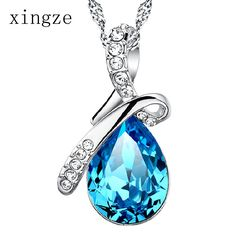 Find More Pendants Information about High quality silver plated jewelry angel tear drop shaped Austria crystal pendant  women's fine jewelry wholesale chainless,High Quality jewelry owl necklaces,China necklace costume jewelry Suppliers, Cheap jewelry family from Xingze Jewelry store on Aliexpress.com