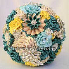 Fabric Wedding Bouquet Brooch bouquet Emerald  Emerald от LIKKO, $330.00