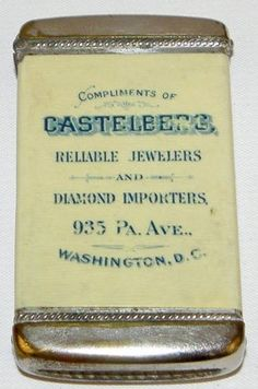 ADVERTISING MATCH SAFE FROM CASTELBERG JEWELERS