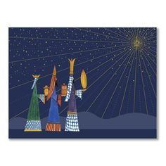 Vibrant and lively, shades of blue, gold and green grace these playfully illustrated Three Wise Men, who carry their notable gifts by starlight. Much like one jolly, bearded fellow from a faraway snowy locale.