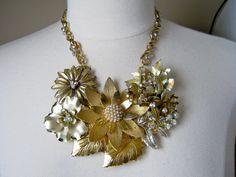 For a Garden Wedding  - even without the garden! Statement Necklace Vintage Enamel Flower by JenniferJonesJewelry, $175.00
