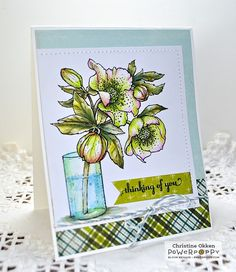 ChristineCreations: Hellebores digital stamp set by Power Poppy, card design by Christine Okken.
