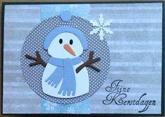 Kaartenblog van Tineke: Kerstkaartje met sneeuwpop