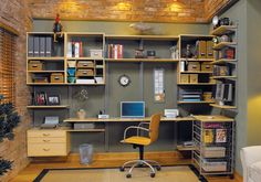 An organized home office! Done with Freedom Rail Shelving from Organized Living ®
