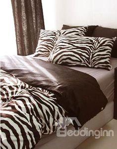 New Arrival 100% Cotton Black and White Zebra 4 Piece Bedding Sets/Duvet Cover Sets