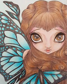 Second lovely fairy from Jasmine Becket-Griffith book. Colored with mix of pencils. #jasminegriffithbecket…