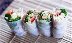 """Vegan Cold Rice Paper Rolls with Chickpea """"Tuna"""" & Grilled Portobello"""