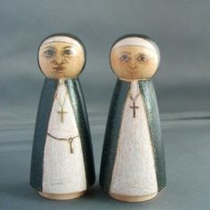 vintage wooden nuns