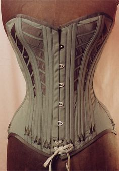 Grey Khaki corset refers to a corset from an 1880's catalogue Vintage grosgrain ribbon and silk flossing.