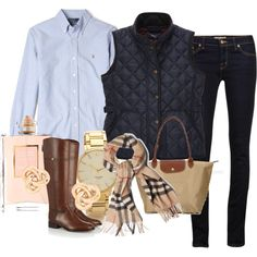 """Classic Preppy Look."" Dark wash denim, button up shirt, vest, tartan scarf, riding boots, Longchamp bag, some gold jewelry, and a touch of Chanel perfume. Oh la la, c'est parfait!"