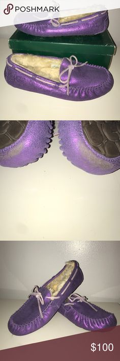 UGG glitter purple moccasins  sz 10 UGG glitter purple moccasins  sz 10. Like new condition with the exception of a scuff at the bottom front of both shoes. Fur is intact without any signs of wear. UGG Shoes Moccasins