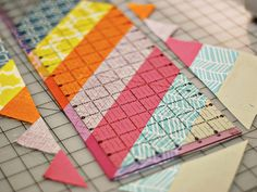 herringbone block tutorial from Bijou Lovely - could totally do this with paper!