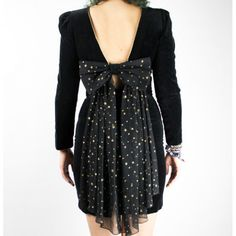 Vintage dress with stars available at the shop ♥ #vintage #blackdress #gothic #grunge #alternative #backless #bow #stars