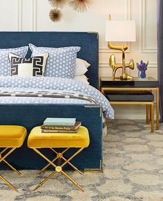 Slumber in style with the regal and modern Connery Queen Bed from Jonathan Adler.