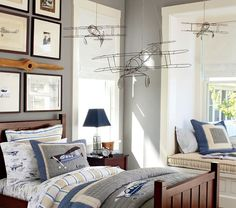 Wire Hanging Airplanes | Pottery Barn Kids--- get crafty with some pliers and a wire hanger maybe?