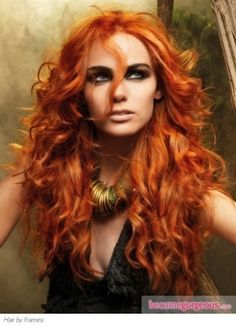 powerful copper hair with golden tones
