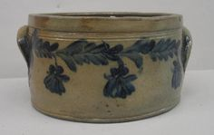 Low butter crock with cobalt blue brushed foliage and flowers around the circumference.