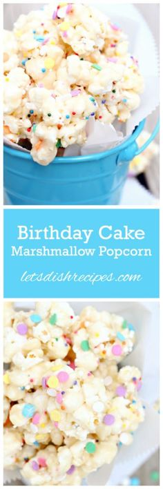Birthday Cake Popcorn 12 cups popped popcorn 6 tablespoons butter 6 cups miniature marshmallows 1 tablespoon vanilla 2 tablespoons milk 2 cups white cake mix Sprinkles