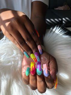 Drip Nails, Aycrlic Nails, Glam Nails, Hot Nails, Summer Acrylic Nails, Pastel Nails, Best Acrylic Nails, Acrylic Nail Designs, Colorful Nails