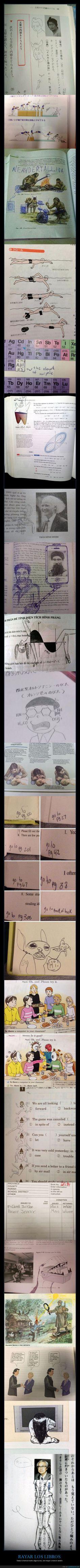 Todos hemos dibujado en nuestros libros del colegio, pero esta colección es puro arte