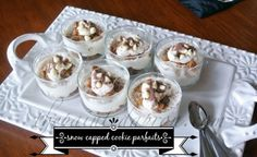 snow capped white Russian cookie parfaits adaptable to other liquors for color - eg st. pat