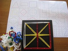 I LOVE the notion of using craft loops (instead of rubberbands) with geoboards!