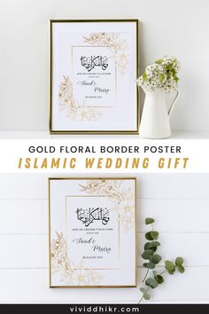 Gold Floral Nikkah Poster | This gold floral border personalized couples poster is a great gift idea for a bridal shower, engagement, wedding gift, anniversary, or housewarming. This features the couple's names and wedding dates. It can be personalized for any special couple. This unique poster is the perfect handmade keepsake for any occasion and it is sure to add a personalized touch to any home. #FloralPoster #PersonalizedPoster #NikkahPoster #GiftPoster #Poster #vividdhikr Personalized Couple Gifts, Personalized Posters, Customized Gifts, Wedding Posters, Unique Poster, Handmade Wedding Invitations, Floral Border, Wedding Signs, Anniversary Gifts