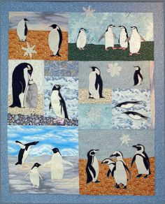 Penguins, a Pattern for a Machine Applique Wall Quilt by Debora Konchinsky