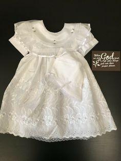New Baby Girl Toddler Christening Baptism 3pc Formal Dress 0,1,2,3,4,0-30M white