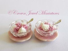 OOAK ARTIST Two 2 Bowls Raspberry Ice by CrownJewelMiniatures