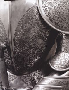 armor..although this is lovely, in the age of King Arthur the companion knights' armour would have been leather.  Decorative, but not metal.