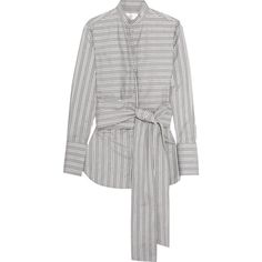Victoria, Victoria Beckham Tie-front striped cotton-poplin shirt ($630) ❤ liked on Polyvore featuring tops, blouses, grey, striped sleeve shirt, tie-front shirts, tie front blouse, roll sleeve shirt and grey blouse