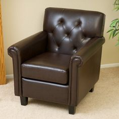 Brown Armchair Foam Fabric Leather Round Arm Solid Wood Living Room Furniture
