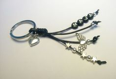 *NEU* Individueller Schlüsselanhänger mit Name und Schutzengel, Leder schwarz