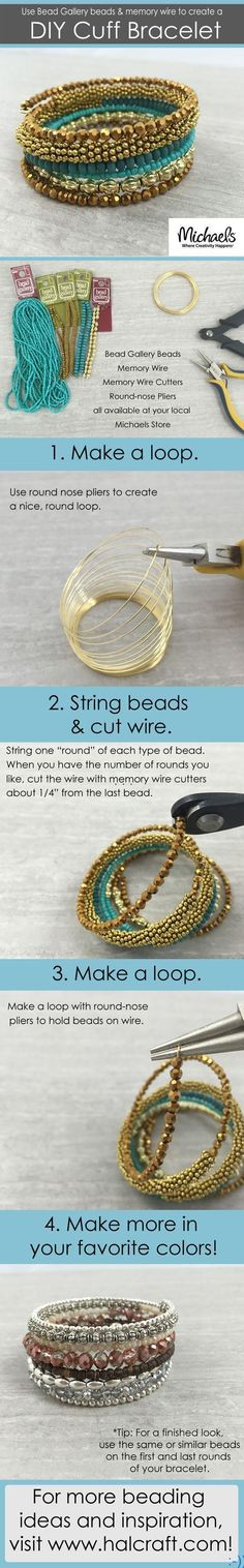 Looking for a tutorial about making your own bracelet? Get some memory wire and some beads in any color you like. Start stringing the beads in any arrangement you like. Do not forget to make loops on both ends to fix the beads. source : pinterest