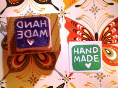 Items similar to Tiny HANDMADE in square - hand carved rubber stamp on Etsy