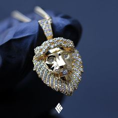 Solid 14K Yellow Gold Micro Lion Pendant Fully Iced With Crown Of Thorns. Custom made to order #Lion #CustomJewelry #IFANDCO