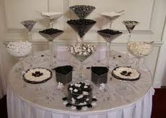 Black and White candy buffet wedding commisioners house Wedding Candy Table, Sweet Table Wedding, Wedding Table Decorations, Wedding Favors, Buffet Wedding, Wedding Ideas, Wedding Centerpieces, Wedding Decor, Wedding Reception
