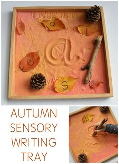 Make an Autumn themed sensory writing tay for mark making, letter formation and learning sight words! A fun fall themed literacy activity for preschoolers activities Autumn Sensory Writing Tray - The Imagination Tree Fall Preschool Activities, Motor Activities, Toddler Activities, Nursery Class Activities, Preschool Fall Theme, November Preschool Themes, Reggio Emilia Preschool, Writing Activities For Preschoolers, Forest School Activities