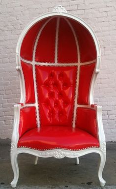 Queen of Hearts throne - VALENTINE RED & WHITE Porters Chair Domed by VENETIANSOCIETY, $1095.00