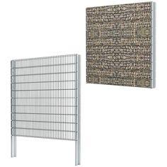 vidaXL 2D Gabion Fence Set 2008x2030 mm 10 m Grey - - Garden and Outdoor