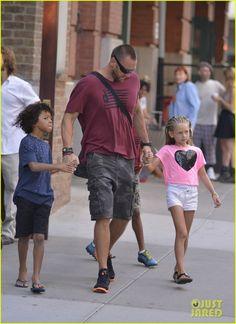 Heidi Klum & Martin Kirsten take the kids Leni, Henry, Johan and Lou shopping on July 9, 2013